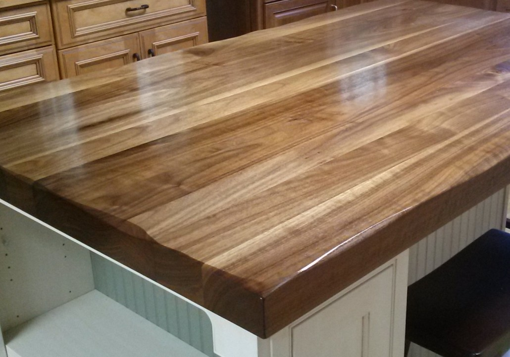 "2-1/4"" thick Walnut Island Top with distressed edge and a food safe finish."