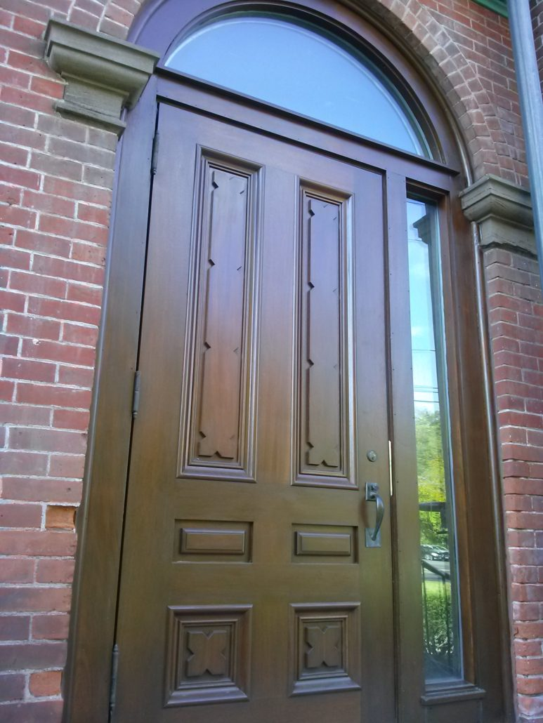This door is on the east side of Cheney Hall in Manchester CT. We reproduced the door with its intricate raised panels sidelight and transom to match the ... & Parkerville Wood Products | Door u0026 Gate Album